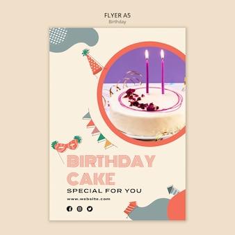 Plantilla de volante de pastel de cumpleaños