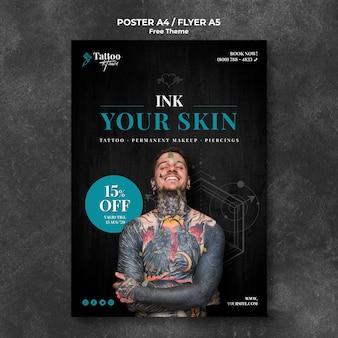 Plantilla de volante profesional de estudio de tatuajes