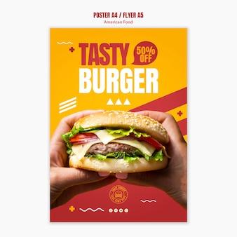 Plantilla de volante sabrosa hamburguesa con queso comida americana