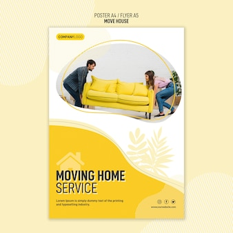 Plantilla de volante para servicios de reubicación de viviendas