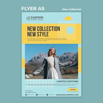 Plantilla de volante vertical para colección de moda con mujer en la naturaleza