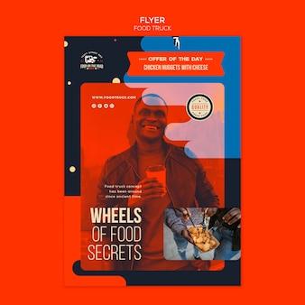 Plantilla de volante vertical para el negocio de camiones de comida