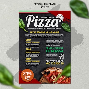 Plantilla de volante vertical para pizzería italiana