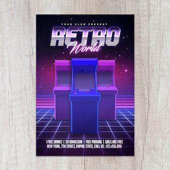 Plantilla de volante de videojuegos flyer 80s retro arcade gaming