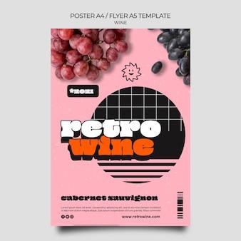 Plantilla de volante de vino retro