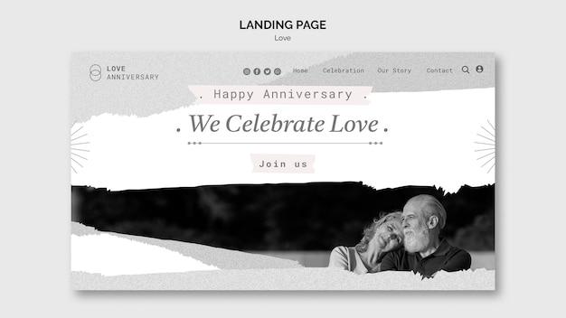 Plantilla web de aniversario de pareja