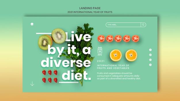 Plantilla web año de frutas y verduras