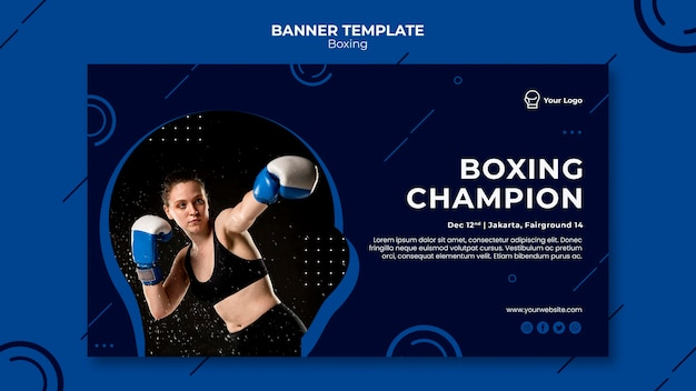 Plantilla web de banner de campeón de boxeo