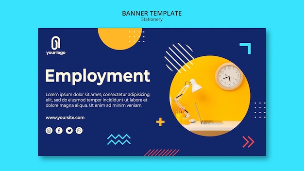 Plantilla de web de banner de concepto de empleo