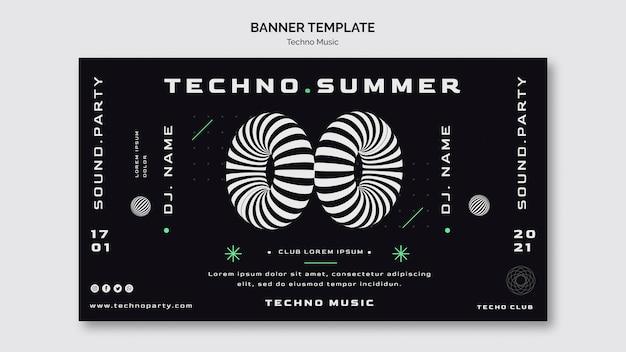 Plantilla web de banner de música techno