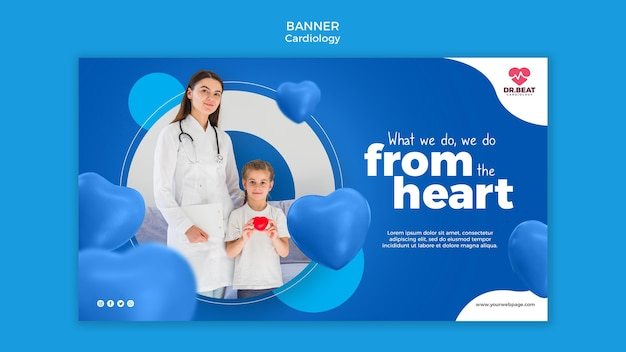 Plantilla web de banner de paciente médico y niño