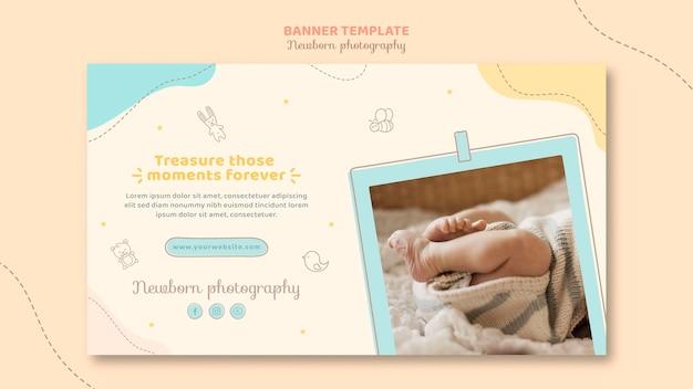 Plantilla web de banner de pies de bebé