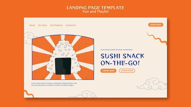 Plantilla web de barra de sushi