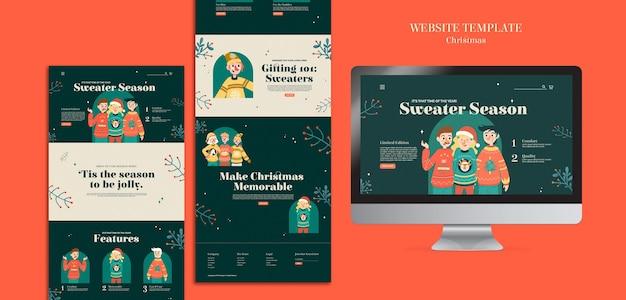Plantilla web de celebración de la temporada de suéter