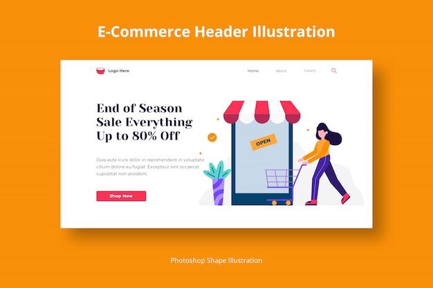 Plantilla web de compras en tienda con ilustración plana