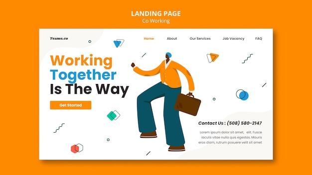 Plantilla web de concepto de coworking