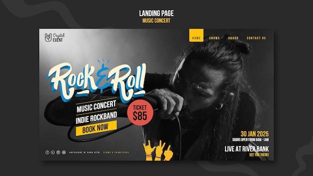 Plantilla web de concierto de música rock
