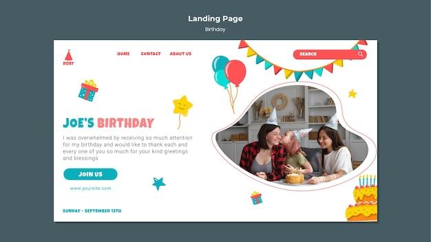 Plantilla web de cumpleaños para niños