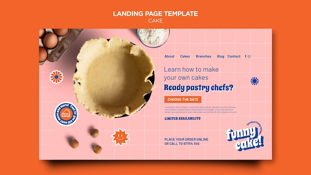 Plantilla web de delicioso pastel