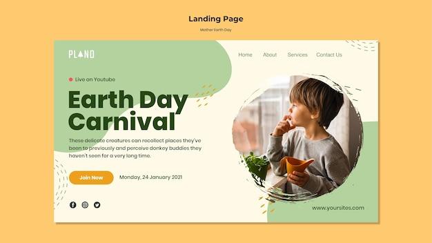 Plantilla web del día de la madre tierra con foto