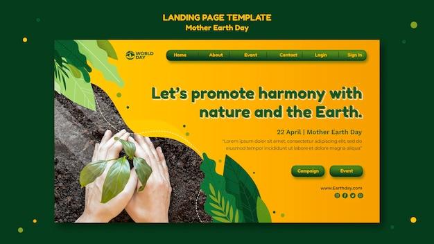 Plantilla web del día de la madre tierra