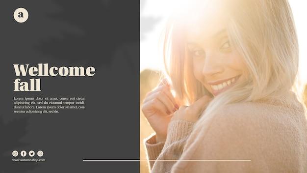 Plantilla web horizontal con mujer rubia