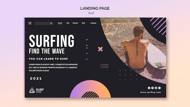 Plantilla web de lecciones de surf