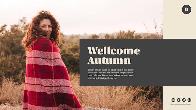 Plantilla web otoño bienvenida horizontal con mujer de pelo rizado