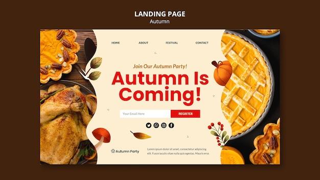 Plantilla web otoño con foto