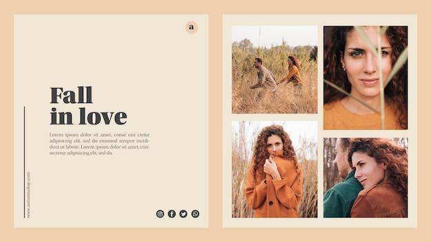 Plantilla web de otoño con hermosas fotos