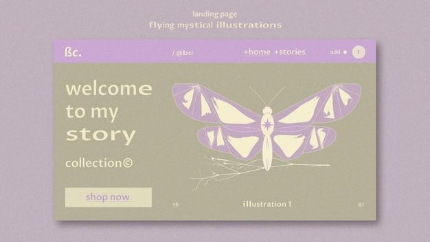 Plantilla web de página de aterrizaje mística voladora