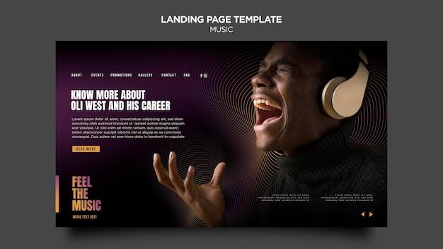 Plantilla web de página de aterrizaje de música