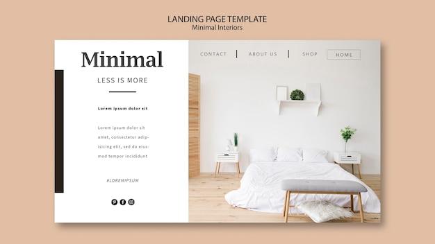 Plantilla web de página de destino de interiores mínimos