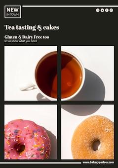 Plantilla web para promoción de té con donas