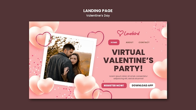 Plantilla web de san valentín con foto