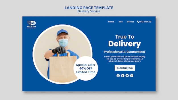 Plantilla web de servicio de entrega