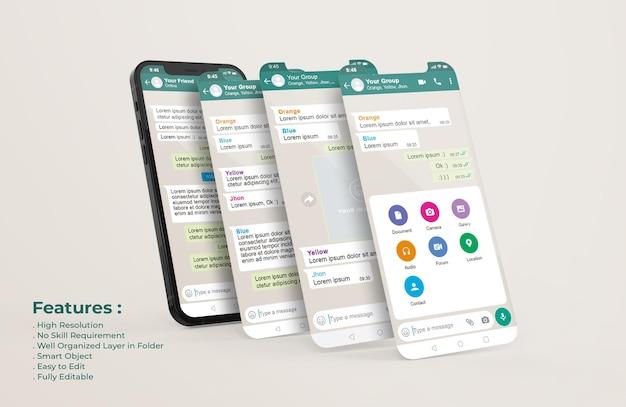 Plantilla de whatsapp messenger en el teléfono móvil y maqueta de presentación de la aplicación ui ux