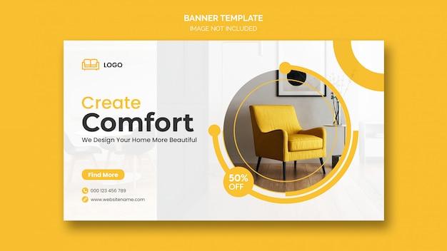 Plantillas de banner web de diseño de interiores mínimo