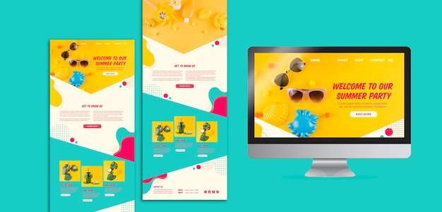 Plantillas coloridas de página web de fiesta de verano