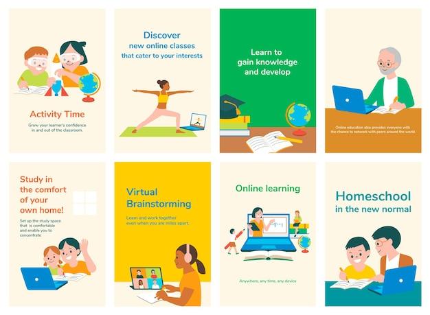 Plantillas de diapositivas editables de educación psd set
