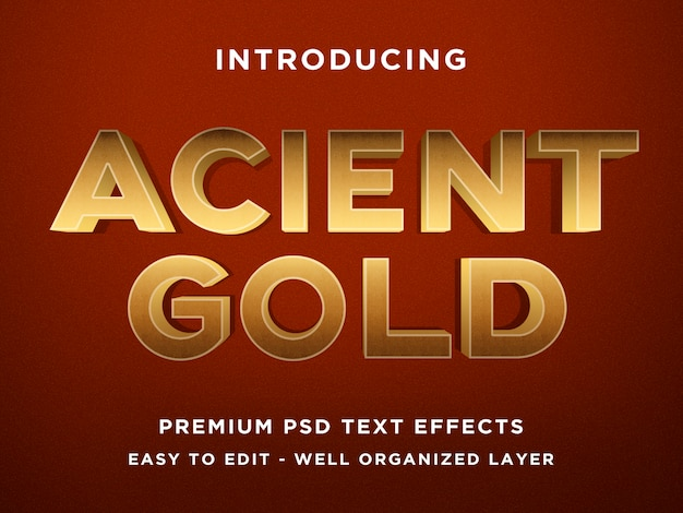 Plantillas de efecto de texto 3d acient gold