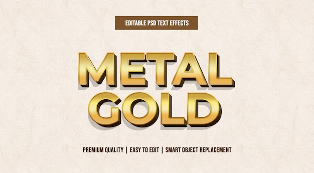 Plantillas de efectos de texto editables de metal gold psd