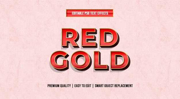 Plantillas de efectos de texto editables de oro rojo psd