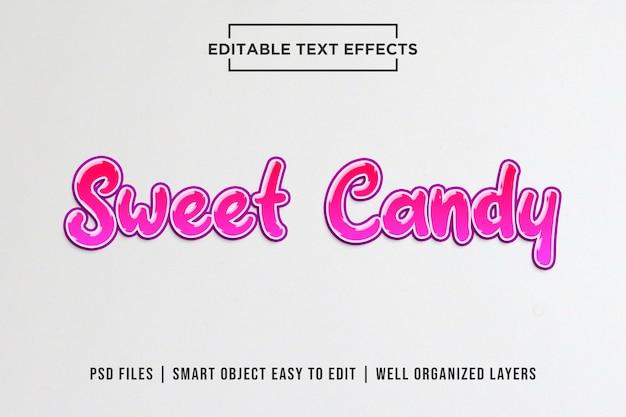 Plantillas de efectos de texto editables sweet candy