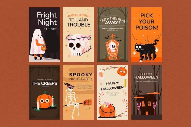 Plantillas de historias psd, conjunto de ilustraciones de halloween