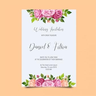 Plantillas de la invitación de la boda del marco de rose