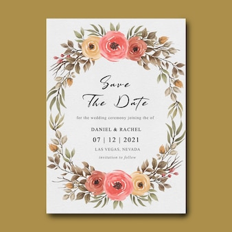Plantillas de invitación de boda con marcos de flores y hojas de acuarela