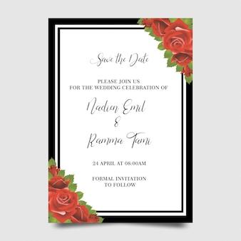 Plantillas de invitación de boda con marcos de flores