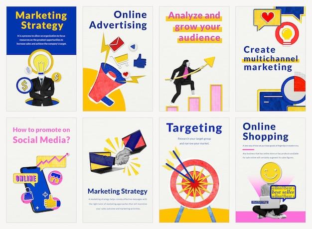 Plantillas de marketing editables psd para el conjunto de medios remezclados de negocios de comercio electrónico
