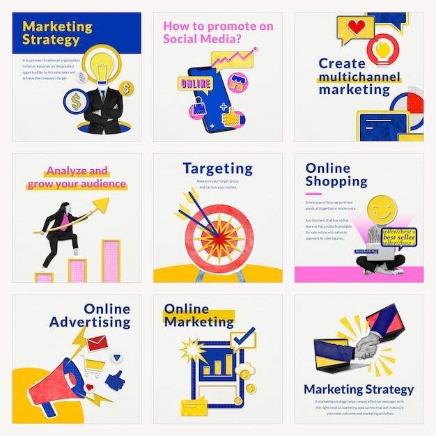 Plantillas de marketing en redes sociales psd para negocios de comercio electrónico medios remezclados compatibles con ai set